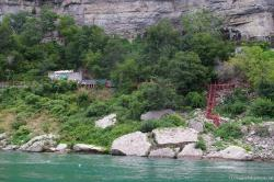 Niagara Falls Cave of the Winds and wooden stairs viewed from Maid of the Mist.jpg