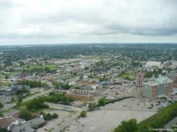 Niagara Falls city Canada seen from Skylon Tower revolving restaurant.jpg