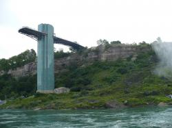 Niagara Falls observation tower as viewed from Maid of the Mist boat.jpg