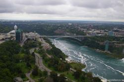 Rainbow bridge and the Niagara River viewed from Skylon Tower revolving dining room.jpg