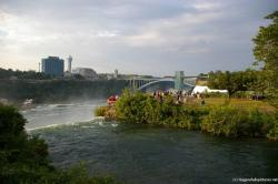 View of the Niagara Falls observation tower and Rainbow bridge and the Niagara Falls.jpg